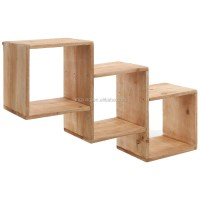 Wall Mounted Natural Wood Square Storage Shelves Rack ...