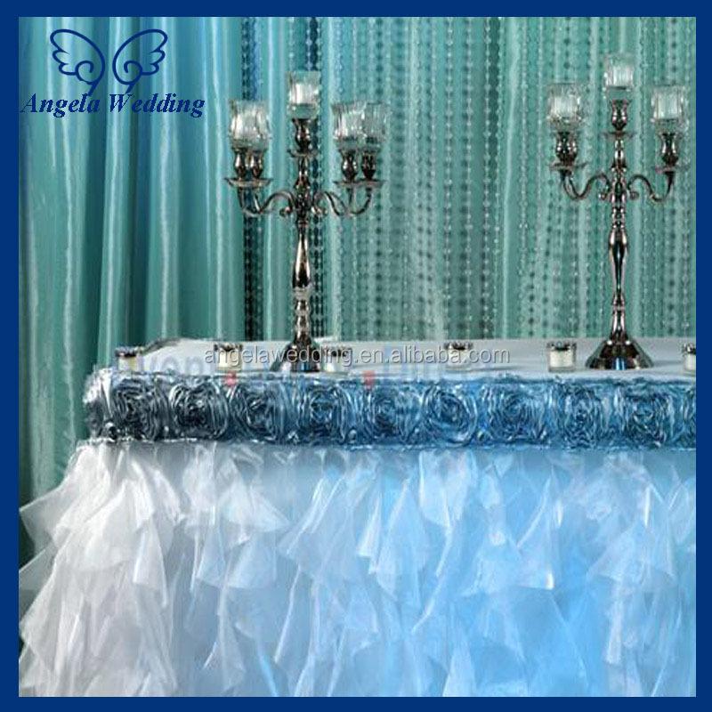 CL052A Fancy elegant round ruffled flower fancy wedding champagne taffeta tablecloths for cake