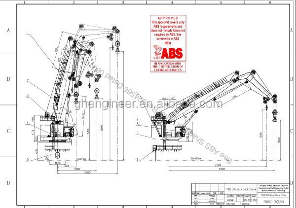 150t Knuckle Boom Marine Pedestal Crane Abs Certifiation