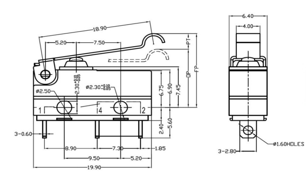 Zing Ear Waterproof R11 Rocker Switch 16a 250v 1e4 T125
