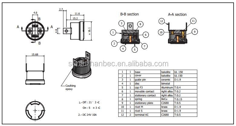 Ksd Bimetal Fuse / Thermal Fuse / Hb2 Temperature Switch