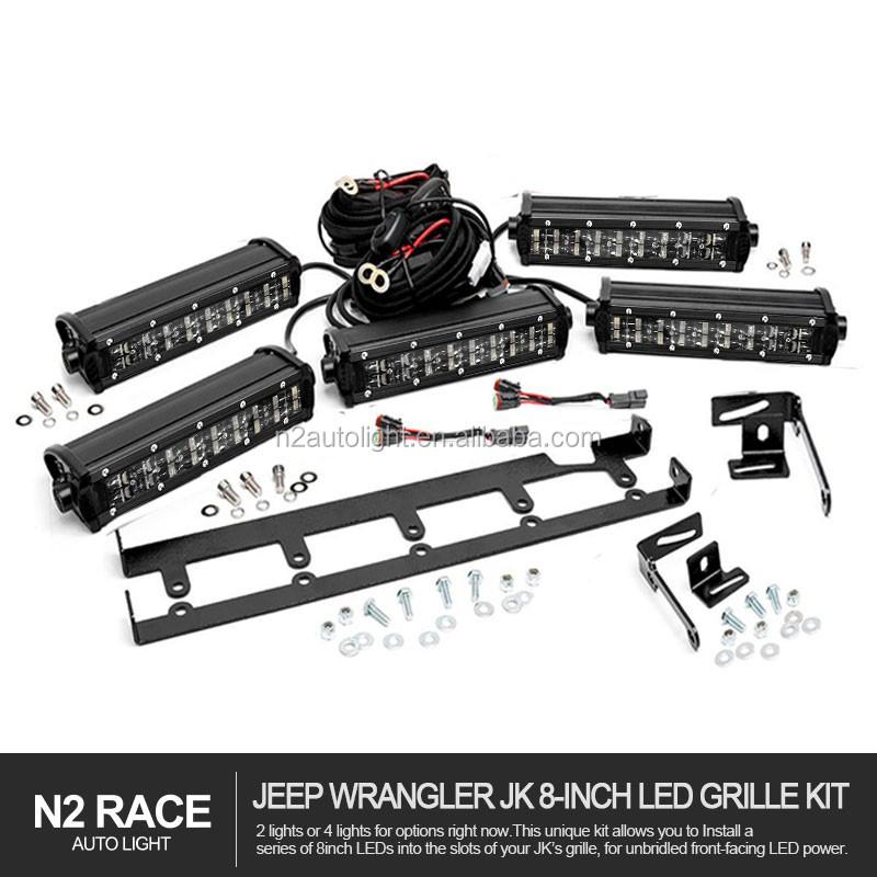 Top Seller 8'' Jeep Grille Inserts Led Light Bar Kit For