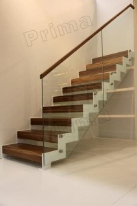 Modern indoor solid wood stair with frameless glass ...