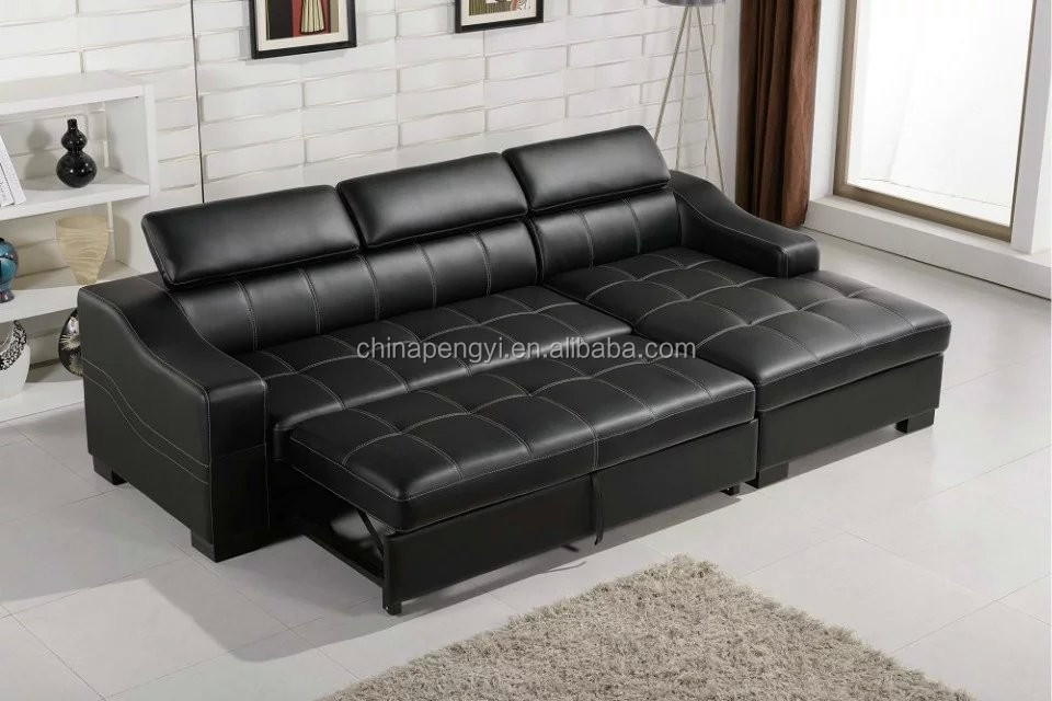 Black Leather Pictures Of Sofa Cum Bedmetal Frame Sofa