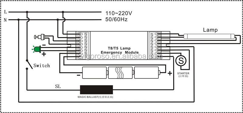 T8 58W emergency power backup, View emergency power backup