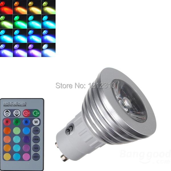 ᗜ Ljഃ4 Вт GU10 RGB светодиодные лампы 16 Цвет изменить ...
