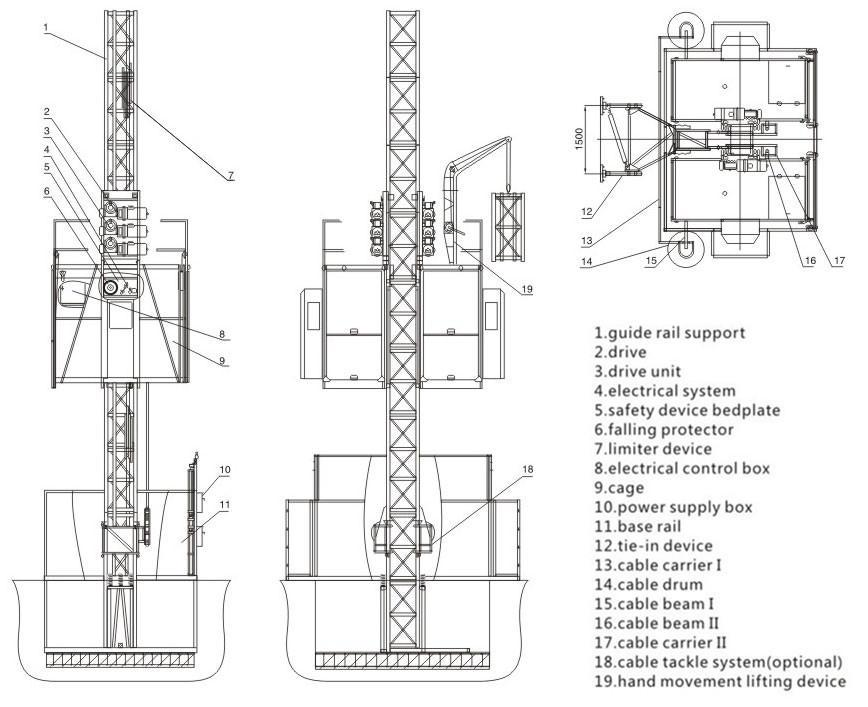 Low Price Construction Materials Hoist Building Lift SC200