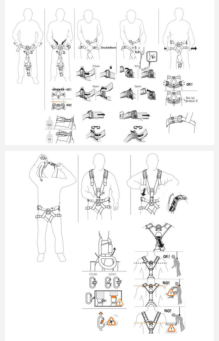 Short-time Producer Full Body Safety Harness Parts Name