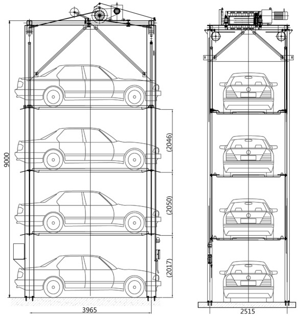 Pjs 4 Post 4 Layer Simple Mechanical Vertical Car Parking