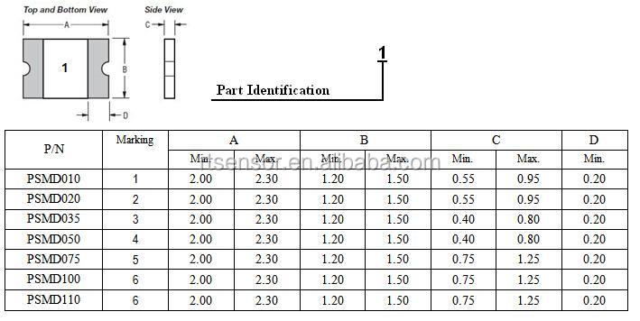 High Quality Ul Csa Tuv 0805 Polymeric Pptc Resettable Smd