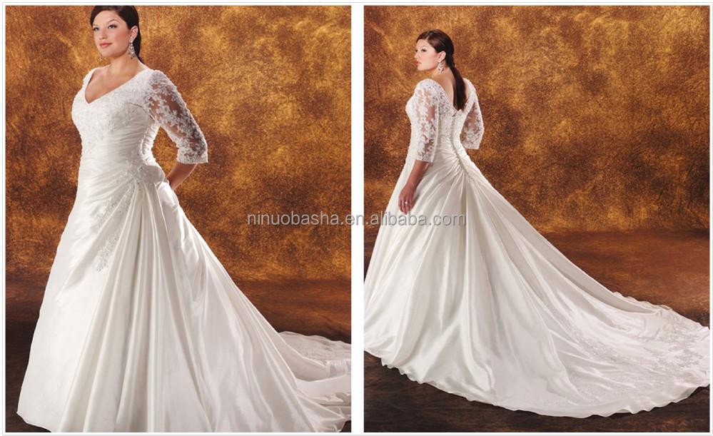 Wholesale 2014 Taffeta Ball Gown Plus Size Wedding Dress V