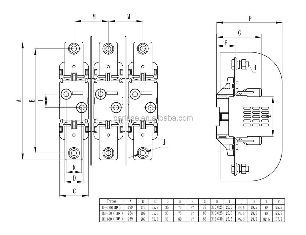 Barfuses 3p 250/400/630a Din Rail Installation Bussmann