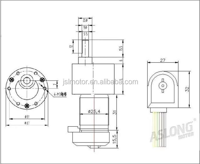 Aslong 12v Permanent Magnet Dc Gear Motor With Encoder