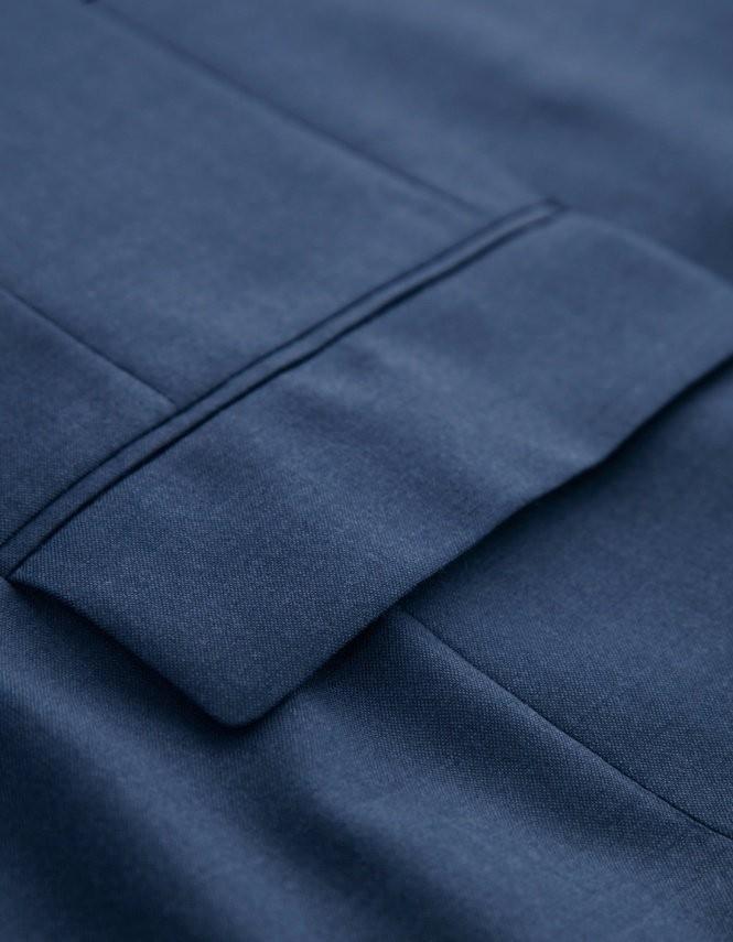 404efa38ea ▻Venta caliente 100% lana azul oscuro dos botones muesca solapa dos ...