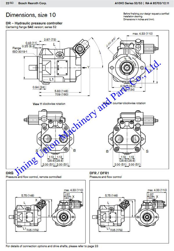 Axial Piston Variable Pump A10vso For Rexroth Pump