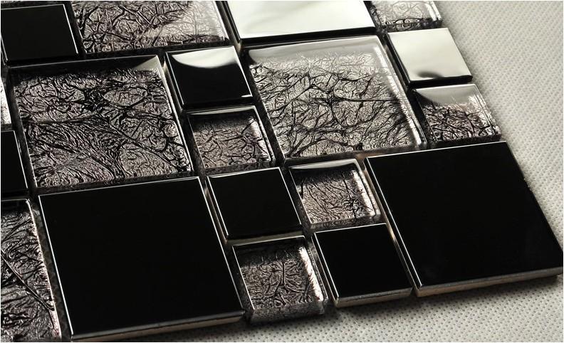 ᓂnero mosaico di vetro resina breve e lunga striscia di piastrelle