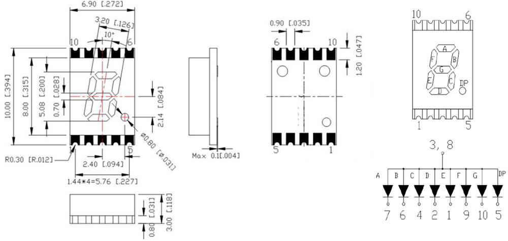 Mini Smt 7 Segment Led 0.2 Inch Number Smd 7 Segment Led