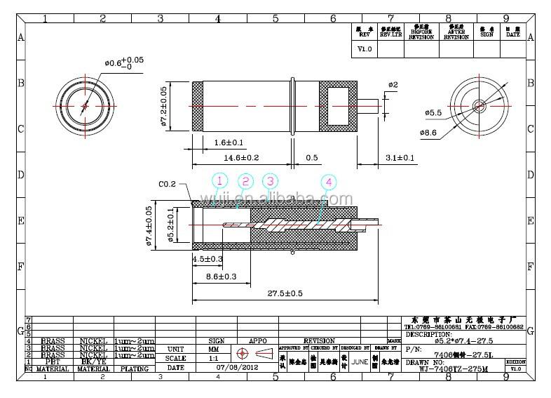 Dc prise 3 pôles 7.4 mm DC plug hp ordinateur portable