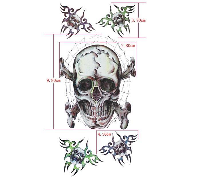 ᐃ5 unids/lote grande 3D cráneo patrón brazo, Cuerpo temporal ...