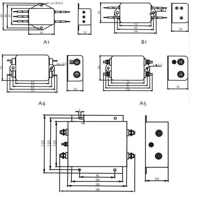 Power Filters 1a 6a 10a 20a 50a Emi Power Filter 110v