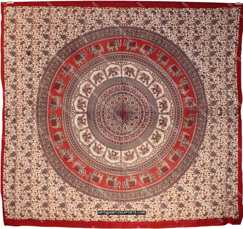 printed fabric sofa designs american leather parker reviews throw round mandala tapestry maroon red teal wholesalers ...