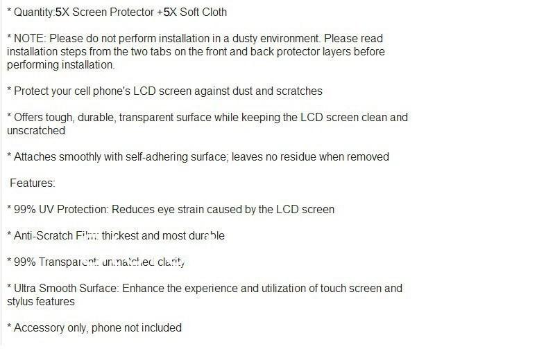 605ad96338 Nueva 5 unids/lote Alto Protector de la pantalla de la alta calidad ...