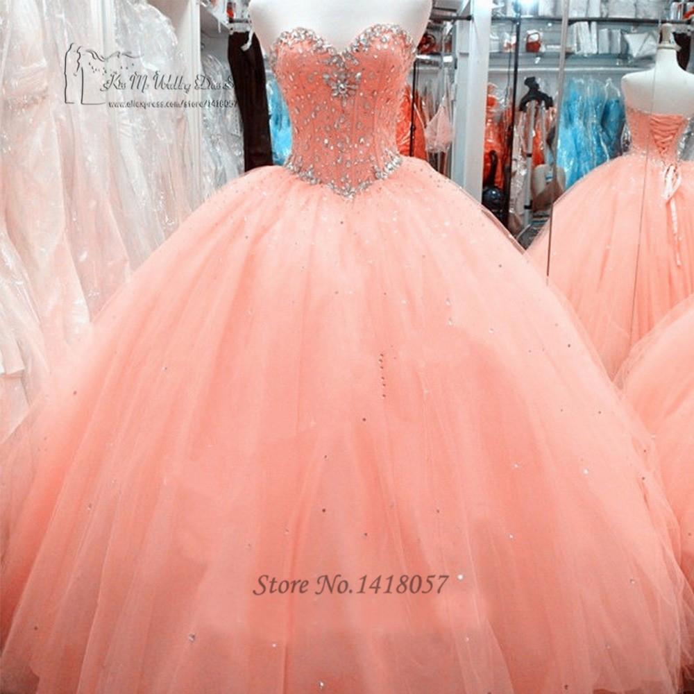 ⊱Vestido de debutantes e 15 anos barato coral Vestidos de ...