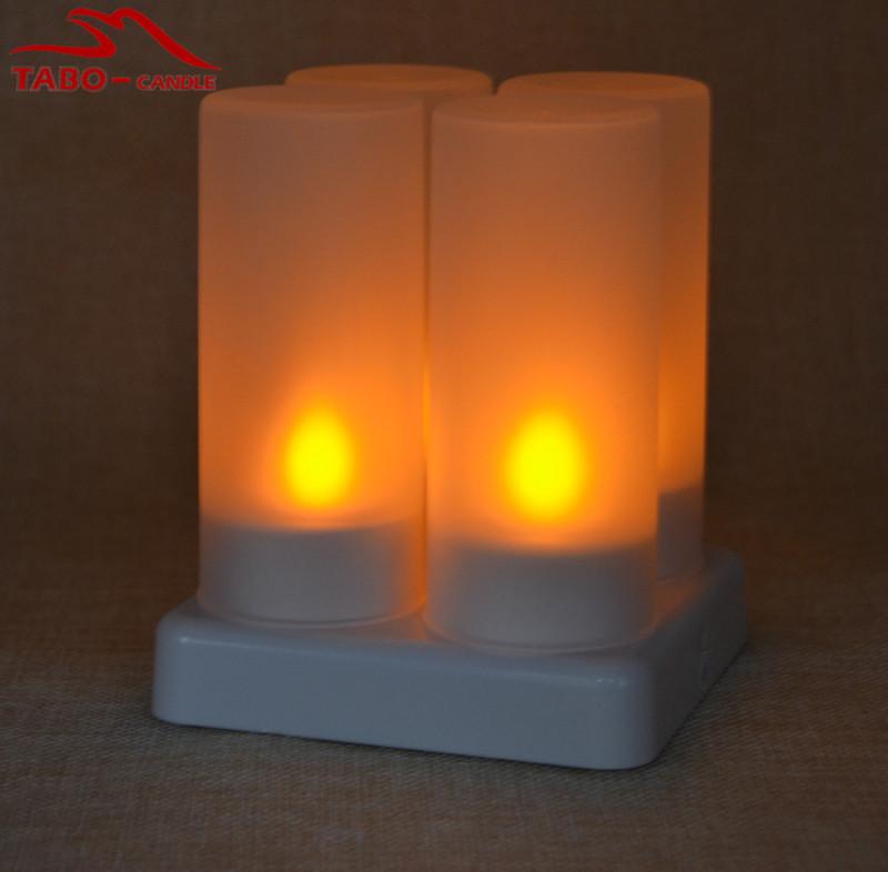 cd5fba29 darmowa Wysyłka Akumulator Bezpłomieniową 4 sztuk/zestaw LED Żółty  Migotanie Tealight Candle Light dla Halloween Nowy Rok Prezent Wystrój Domu