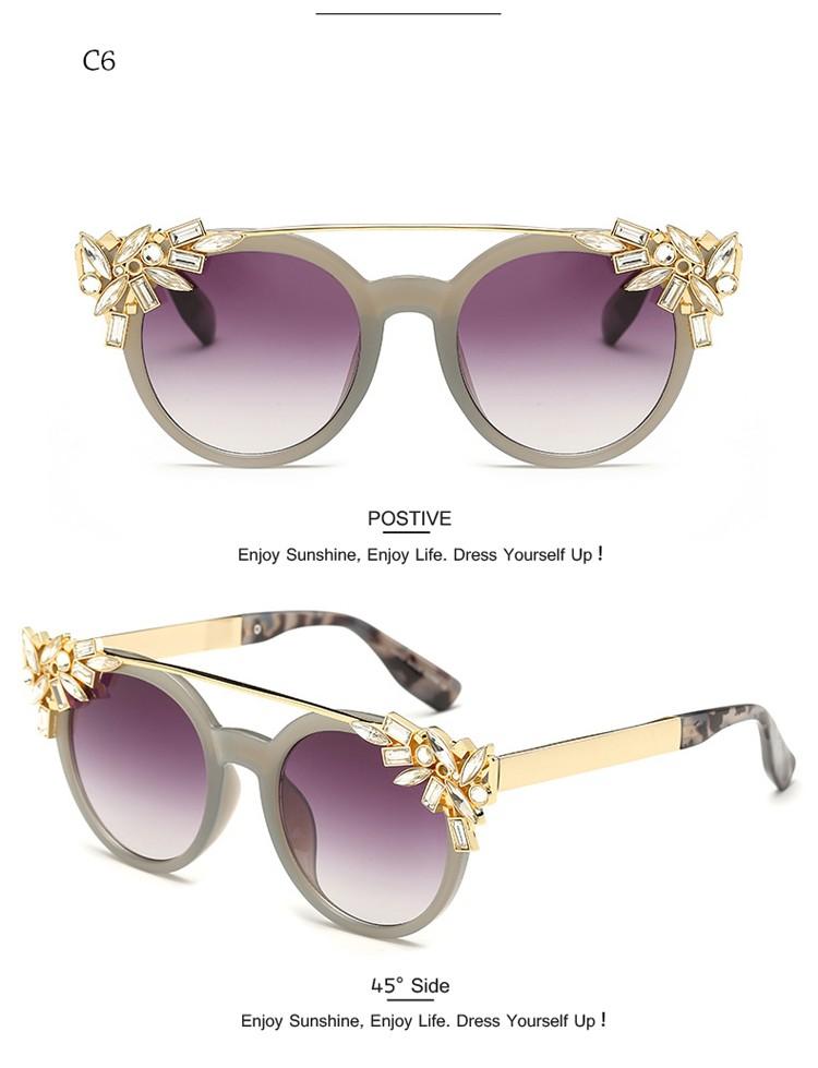 Luxueux Exclusif Faits à La Main L'oeil De Chat Lunettes De Soleil De Cadre En Cristal Demi De Couleur,Purple