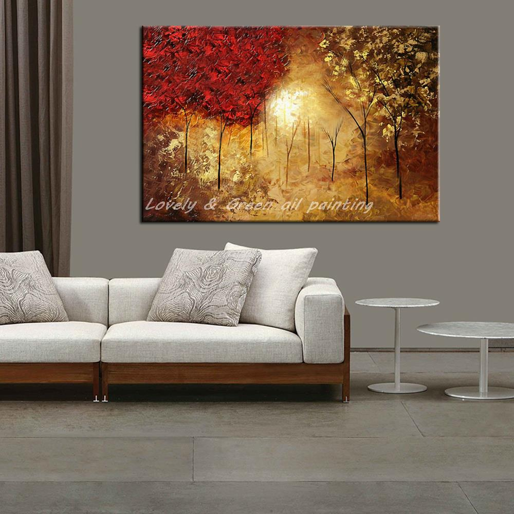 peint la main paysage abstrait peinture l 39 huile accrocher des tableaux moderne arbres image. Black Bedroom Furniture Sets. Home Design Ideas