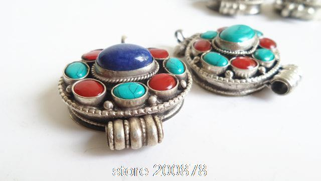 e915bddd3ef2 ᗗTGB204 Tibetano argento Intarsiato di Pietra Lapis scatola di ...