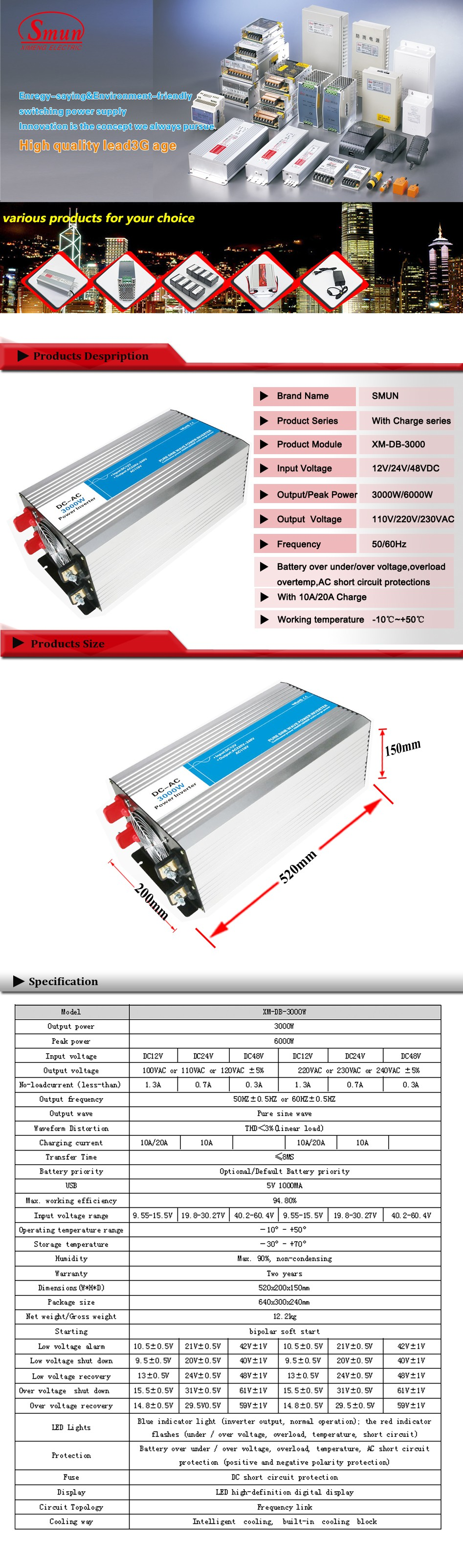 3000w 12vdc To 220vac Pure Sine Wave Inverter With 10a Ac Charge Power Circuit 230vac For Solar Panel And Home Appliances
