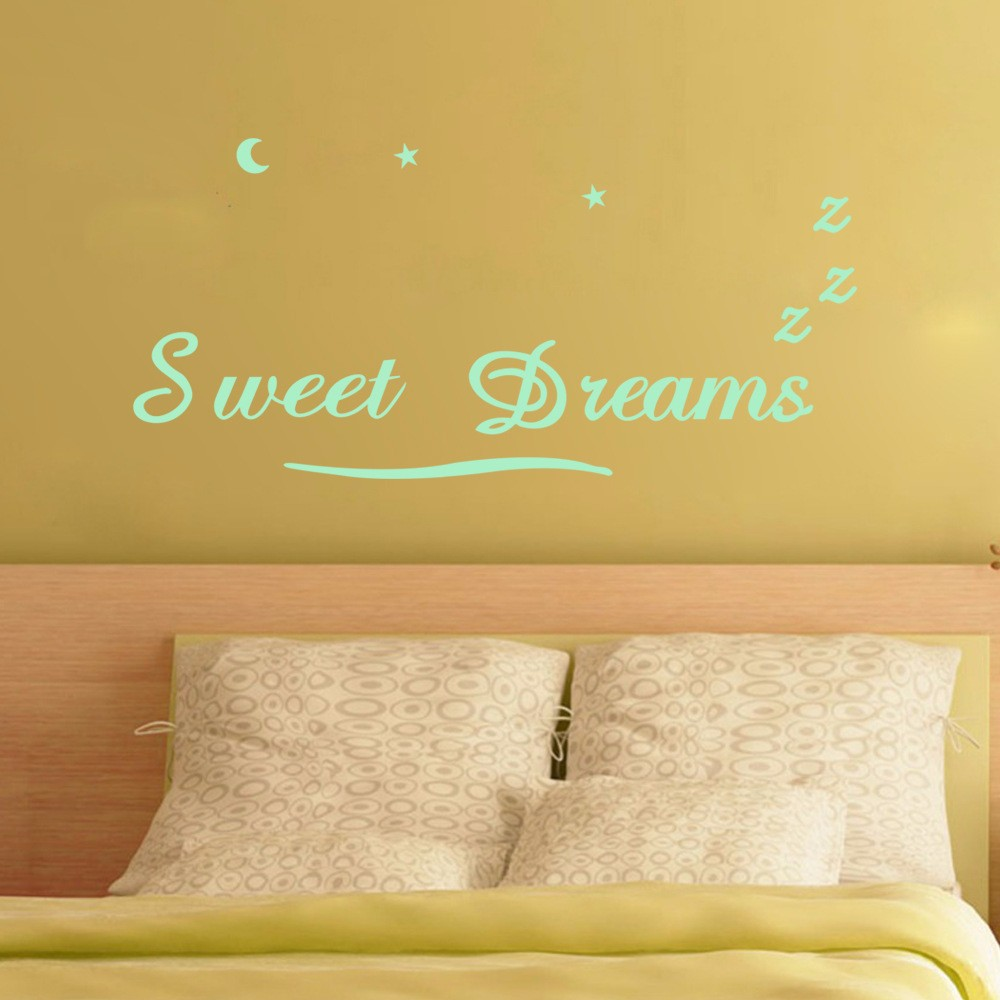 ୧ʕ ʔ୨Creative Glowing Wall sticker sweet dreams moon stars quote ...