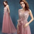 Robe De Soiree 2016 Evening Dress Sweet Pink Lace