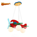 HGhomeart Baby Room Cartoon Led Pendant Lights Glass E27 LED Lamp 110 220v Acrylic Aircraft Suspension