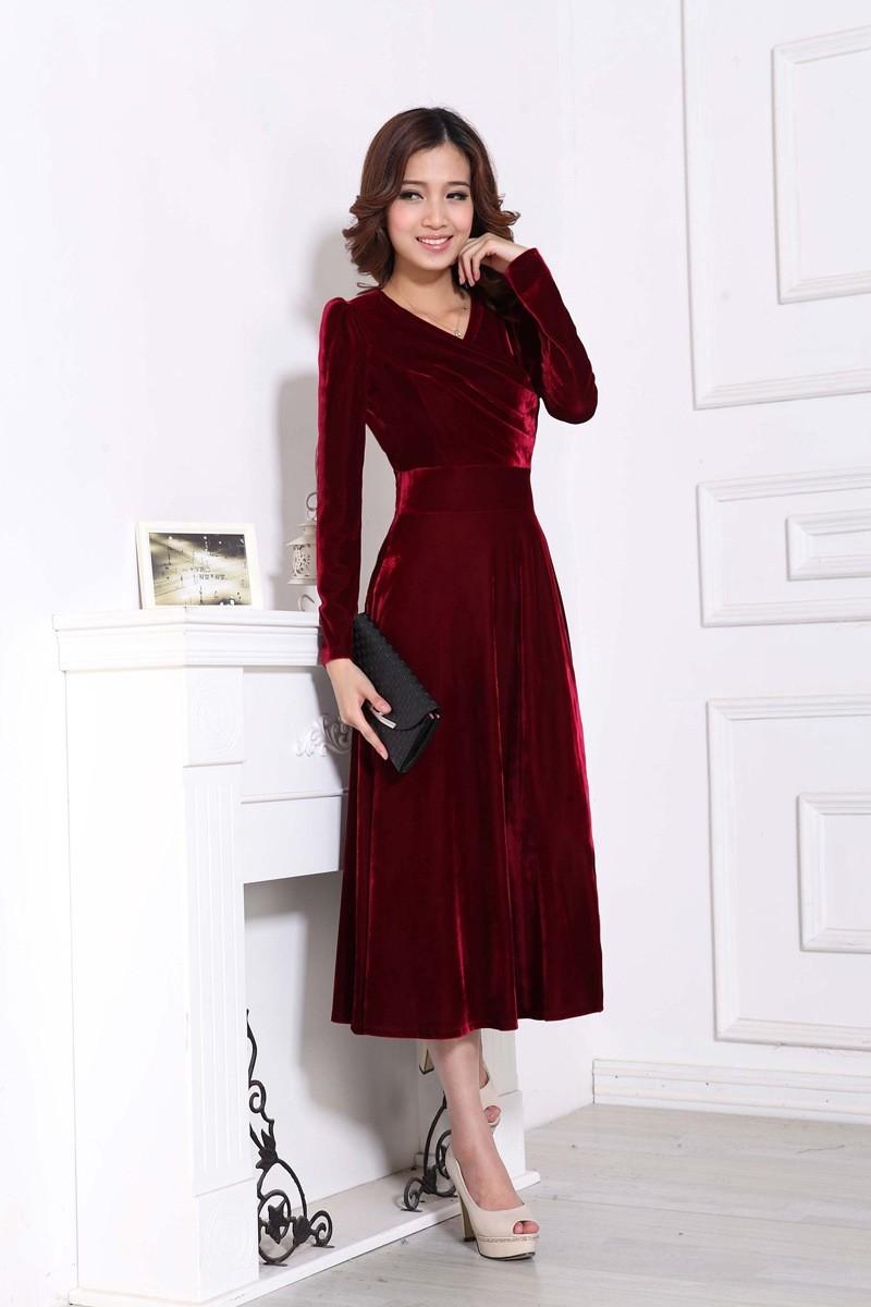 Plus Size Long Velvet Dresses for Women