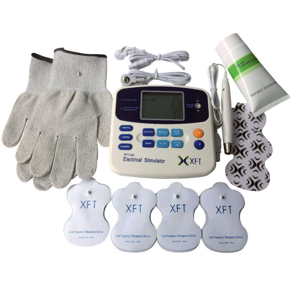Xft 302 Dual Tens Digital Electrical Therapy Machine Body Health Massage Care Stimulator Device 1pair Conductive Electrode Fiber Gloves