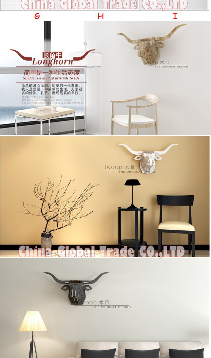 Φ_Φ45x93x28cm Modern Home Decoration Wood Animal Head Furniture Wild ...