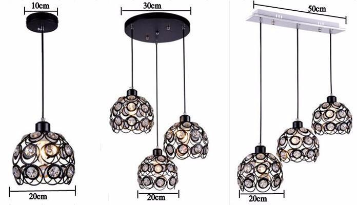 Modern pendant lights Restaurant Crystal Three Single Head dinning