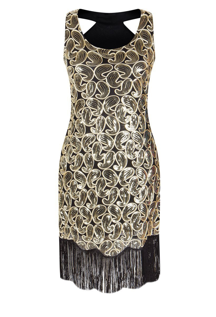 2019 Wholesale WomenS 1920s Sequin Paisley Pattern Racer Back Flapper Black Gold Dress Sexy