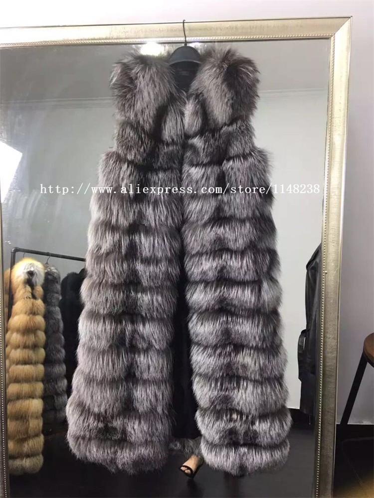 2237f81f1ef0 2016 Nouvelles femmes de gilet de fourrure, haute qualité 110 cm longueur  long gilet pour les femmes, dames élégantes mince réel red fox fourrure  gilets