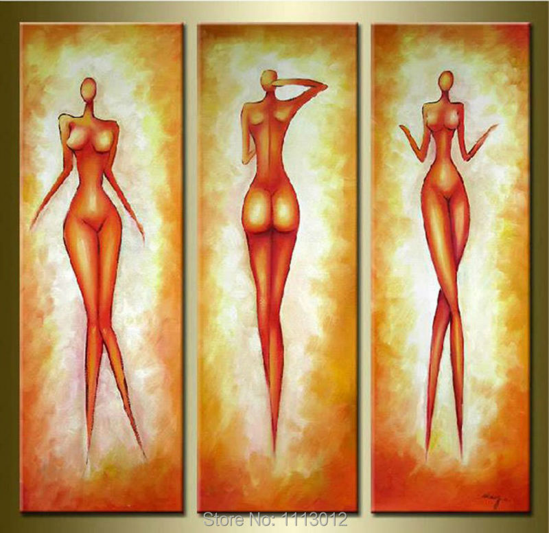 №100% High Quality 3pcs Portrait Set Abstract Nude Oil painting On ...