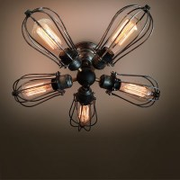 5 arm industrial ceiling light Edison bulb ceiling lamps ...