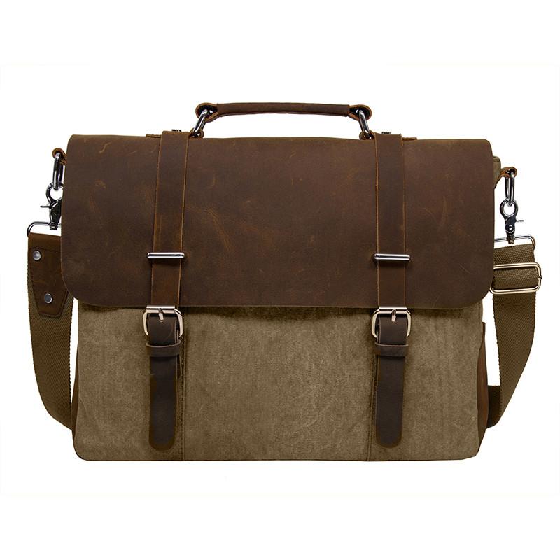 Ecosusi Новый Дизайн холст и кожа Для мужчин Классические Портфели сумка  деловая молнии Тетрадь ПР Сумки для 15 ноутбук c4acafb6e8b