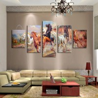 Unframed 5 Panels Canvas Print Painting Modern Running ...