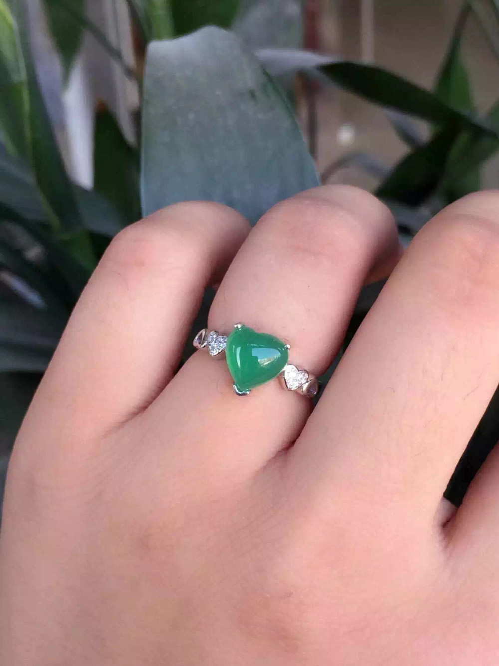 ⑧Natural green chalcedony Ring Natural gemstone ring S925 sterling ...