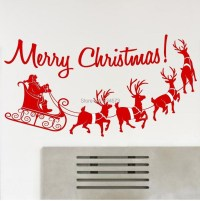 Merry Christmas Silhouette Wall Art Stickers Wall Decal ...
