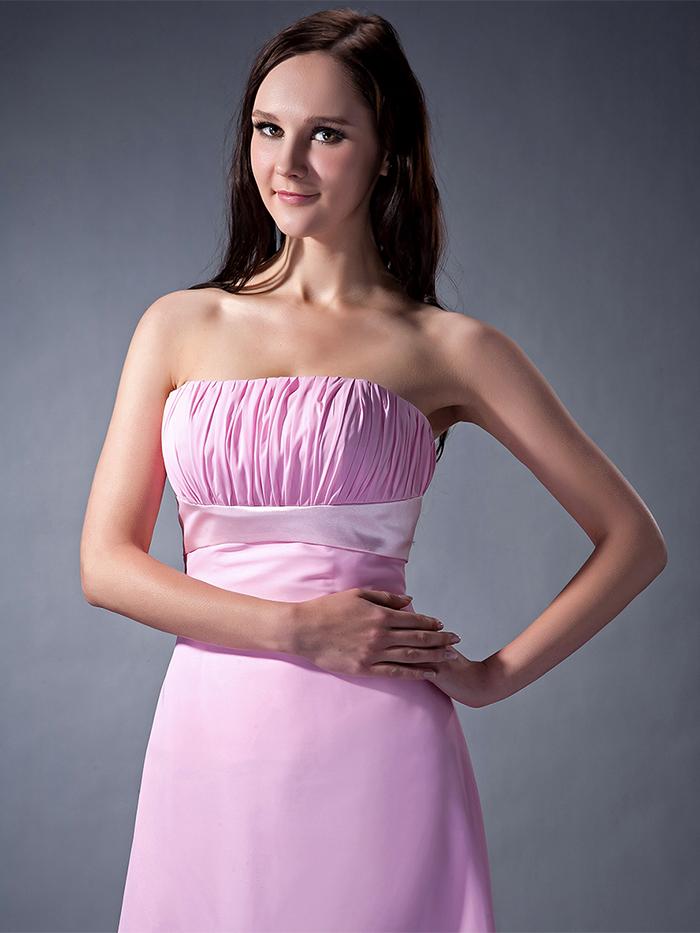 ₩2017 Rosa alta baja informal Vestidos de dama de honor plisados sin ...