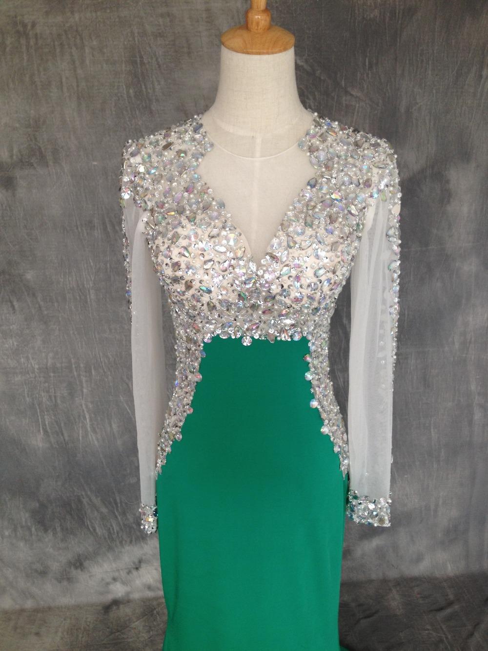 Green vestido de formatura 2015 Diamond Prom Dresses With Long Sleeves Rhinestone Floor Length