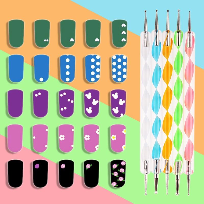 Nº10 unids rolls etiqueta + 15 unids Pinceles de manicura + 5 unids ...